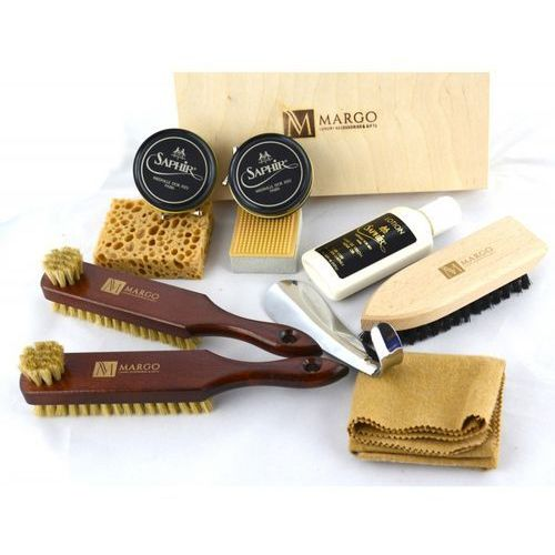 Margo, firmowy 10-el. zestaw do pielęgnacji obuwia w drewnianym pudełku marki Saphir medaille d'or