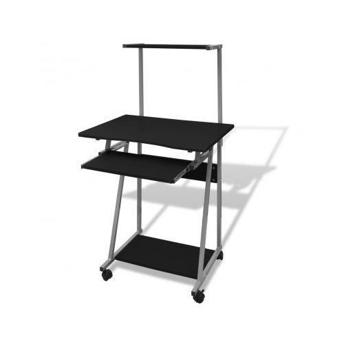 Biurko komputerowe z ruchomą półką na klawiaturę (Czarne) - sprawdź w VidaXL