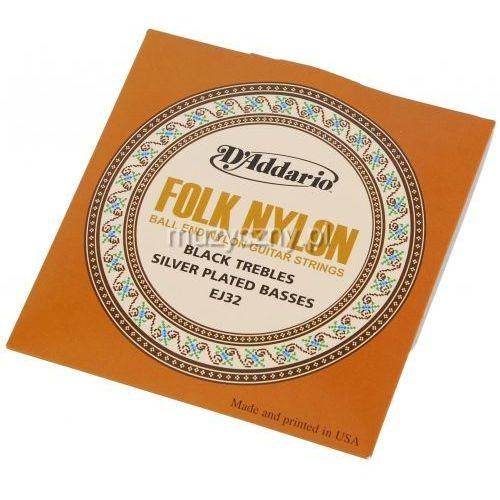 ej-32 struny do gitary klasycznej folk nylon zakończone kulką marki D′addario