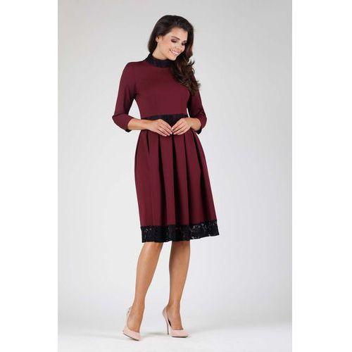 55739fa6fa Nommo Bordowa wizytowa rozkloszowana sukienka z koronką 144