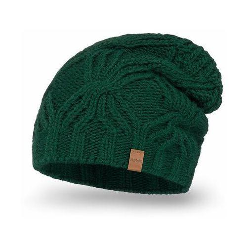 Przedłużana czapka damska PaMaMi - Butelkowa zieleń, kolor zielony