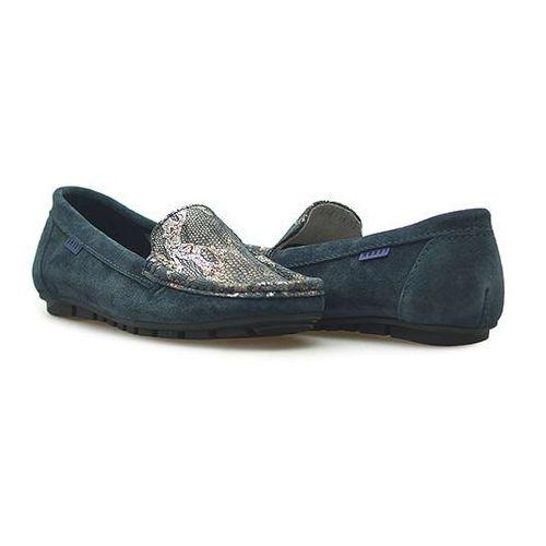Mokasyny Nessi 62605 Granatowe W2 zamsz, kolor niebieski