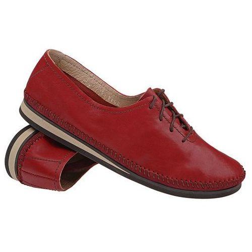 Mokasyny sznurowane buty SIMEN 6870 Bordowe - Czerwony ||Bordowy