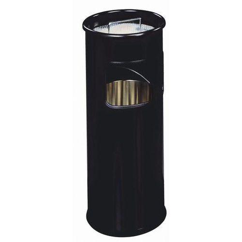 Durable Kosz na śmieci, metalowy, okrągły z popielnicą 17 l. czarny - x09973