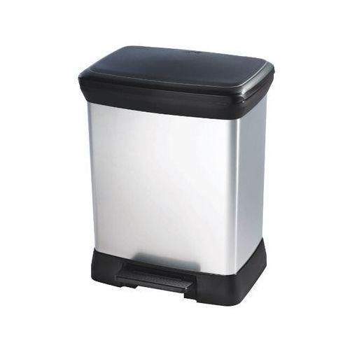 Kosz na śmieci metalizowany 30L z pedałem czarny/srebrny metalizowany 203278 Curver - produkt z kategorii- kosze na śmieci