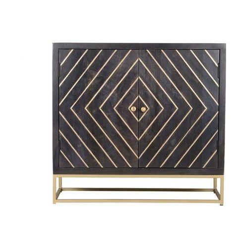 Bufet art déco prismin - 2 szafki - drewno mangowe i metal - kolor antracytowy i złoty marki Vente-unique