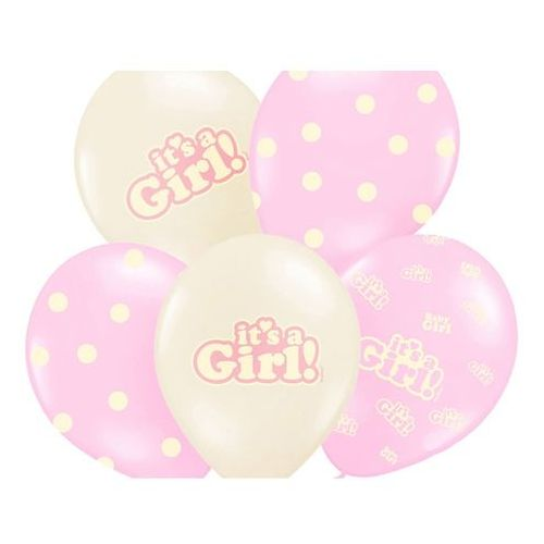 Party deco Balony pastelowe it's a girl - 30 cm - 5 szt.