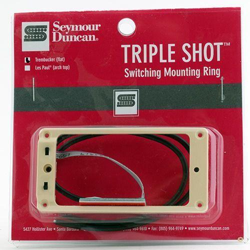 Seymour duncan sts 1 blk triple shot, neck/bridge switching mounting ring, flat/trembucker - creme