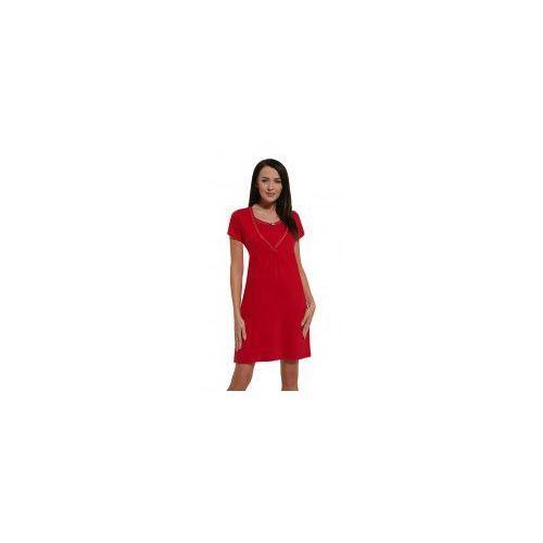 Koszula nocna ciążowa i do karmienia - Czerwona kr. rękaw