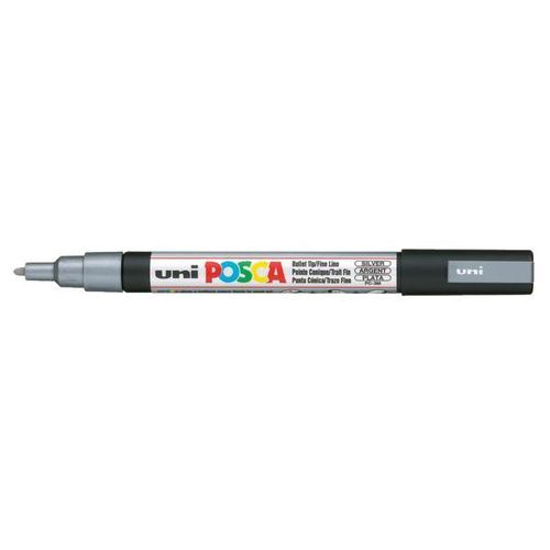 Uni Marker z farbą plakatową posca, pc-1m 0,7mm srebrny