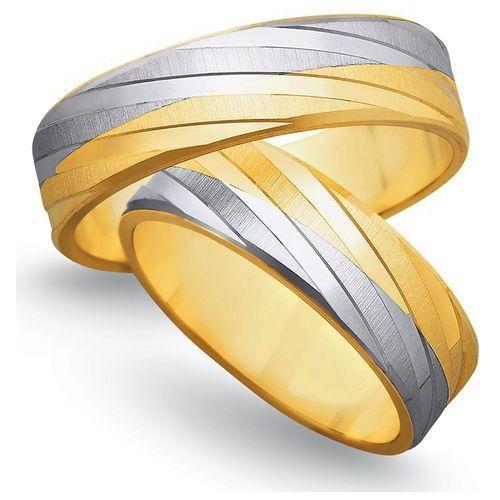 Obrączki ślubne z żółtego i białego złota 6mm - O2K/149