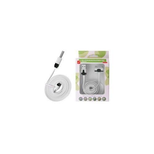 KABEL USB IPAD 3/2 IPHONE 4S/S PŁASKI BIAŁY (kabel komputerowy)