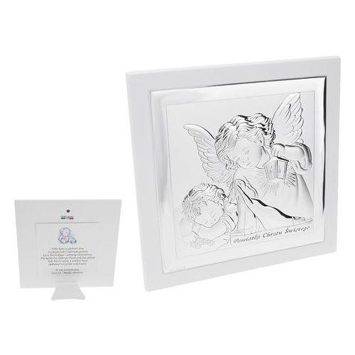 Duży Obrazek Srebrny Anioł Stróż z latarenką 19x19 cm Pamiątka Chrztu DEDYKACJA