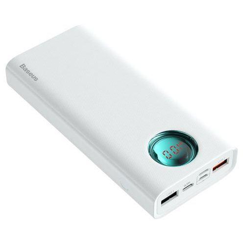 Baseus amblight power bank 20000 mah z wyświetlaczem lcd power delivery pd3.0 quick charge qc3.0 18w biały (ppall-lg02) - biały (6953156286580)