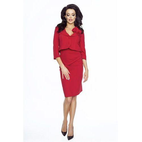 Czerwony Elegancki Komplet Sukienka+ Krótki Żakiet