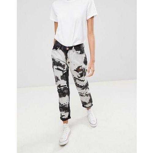 Glamorous tie dye Ripped Boyfriend Jeans - Black, 1 rozmiar