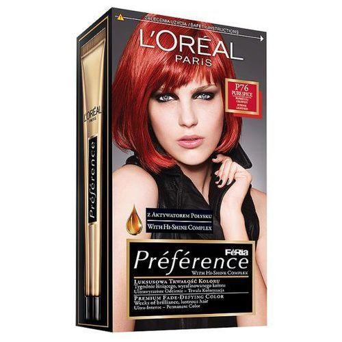 Farba do włosów Feria Preference - P76 Płomienna Czerwień, L'Oréal