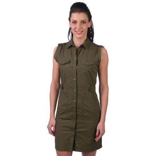 Pepe Jeans sukienka damska Irma M khaki, kolor zielony