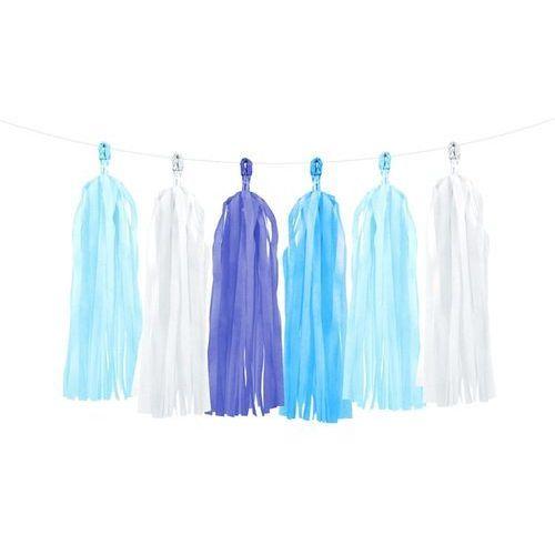 Party deco Girlanda z frędzlami białymi i odcieniami niebieskiego - 150 cm - 1 szt.