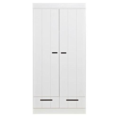 Szafa CONNECT, dwudrzwiowa z szufladami, drążkiem i półkami, biała 360302-GOW/08, Woood