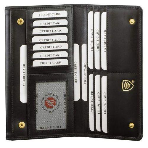 Bezpieczny skórzany damski antykradzieżowy portfel rfid (czarny) - czarny połysk marki Koruma®