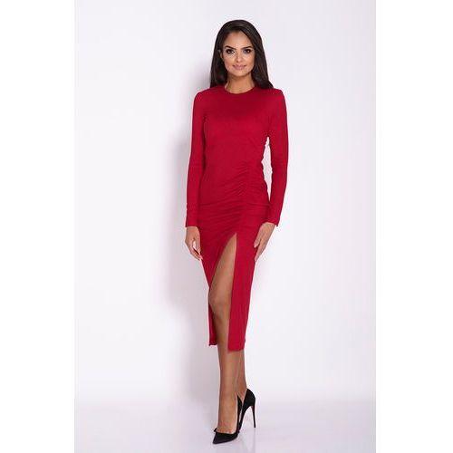 24a4e5d54a Czerwona Ołówkowa Midi Sukienka z Drapowaniem