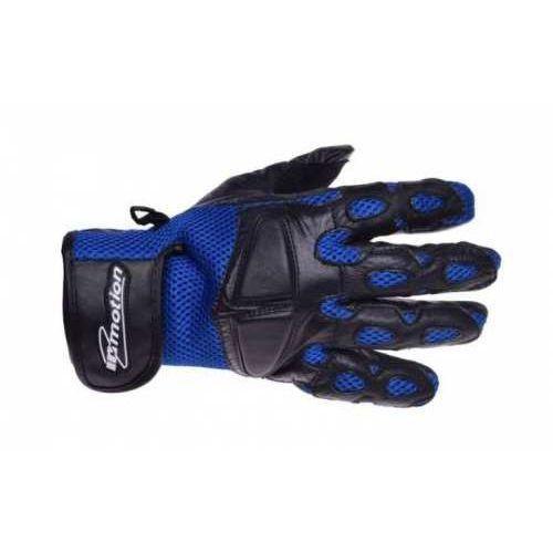 Inmotion Rękawice motocyklowe czarno-niebieskie skórzane siatka