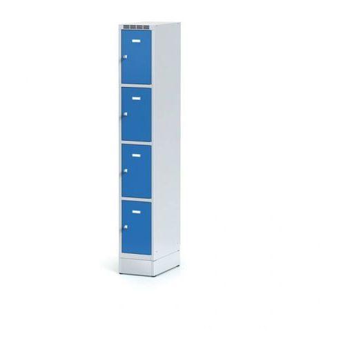 Metalowa szafka ubraniowa 4 boksy na cokole, drzwi niebieske, zamek cylindryczny marki Alfa 3