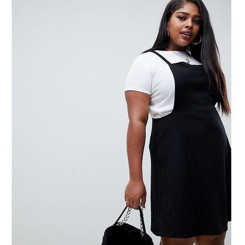 ASOS DESIGN Curve square neck mini pinafore dress - Black, 1 rozmiar