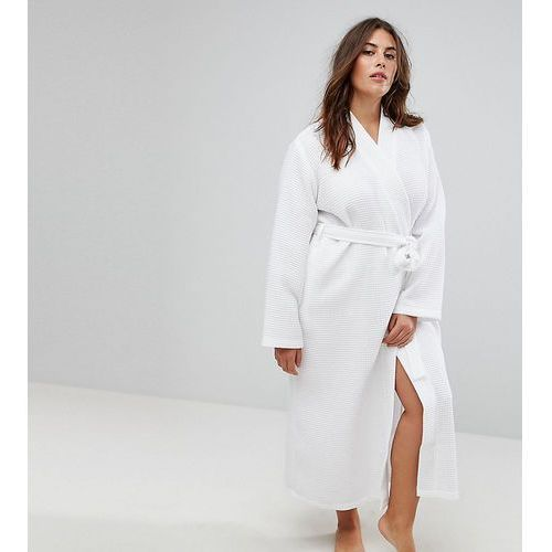ASOS CURVE Longer Midi Waffle Hotel Robe in 100% Cotton - White