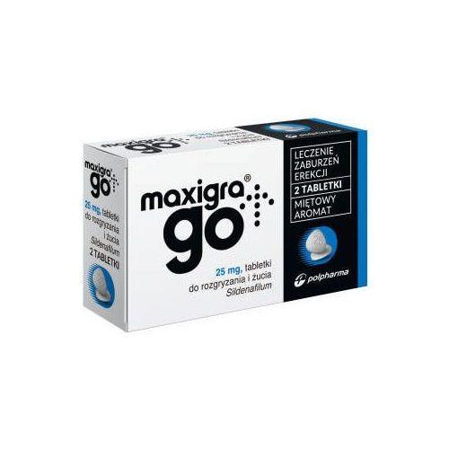 Maxigra go 25mg x 2 tabletki do rozgryzania i żucia marki Polpharma