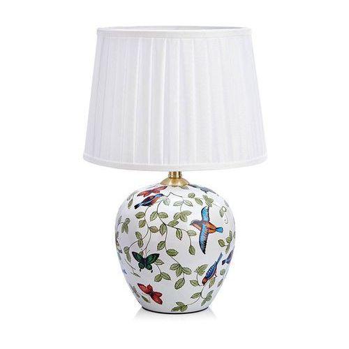 Markslojd Abażurowa lampa stołowa mansion 107040 ceramiczna lampka klasyczna wzorki retro ptaki biały