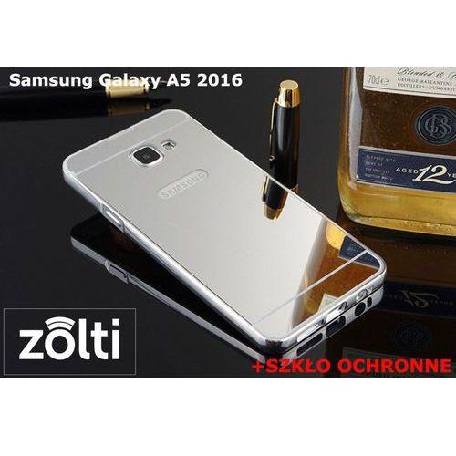Zestaw | Mirror Bumper Metal Case Srebrny + Szkło ochronne Perfect Glass | Etui dla Samsung Galaxy A5 2016, kolor szary