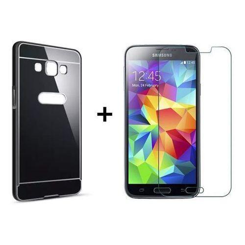 Mirror bumper / perfect glass Zestaw | mirror bumper metal case czarny + szkło ochronne perfect glass | etui dla samsung galaxy grand prime