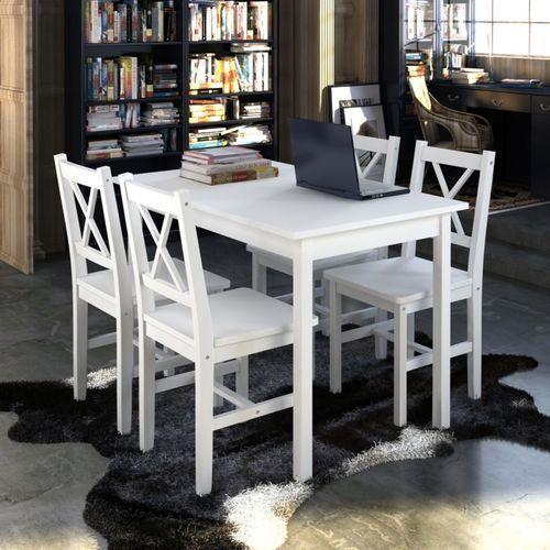 drewniany zestaw: stół i cztery krzesła, kolor biały marki Vidaxl