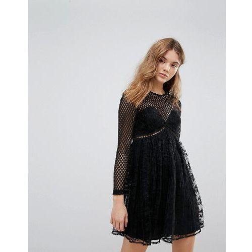 fishnet lace pleat dress - black marki New look