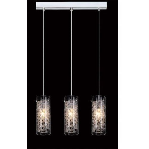 LAMPA wisząca IBIZA MDM1903/3 Italux szklana OPRAWA zwis LISTWA sufitowa TUBY z wzorkami chrom przezroczyste, kolor Srebrny
