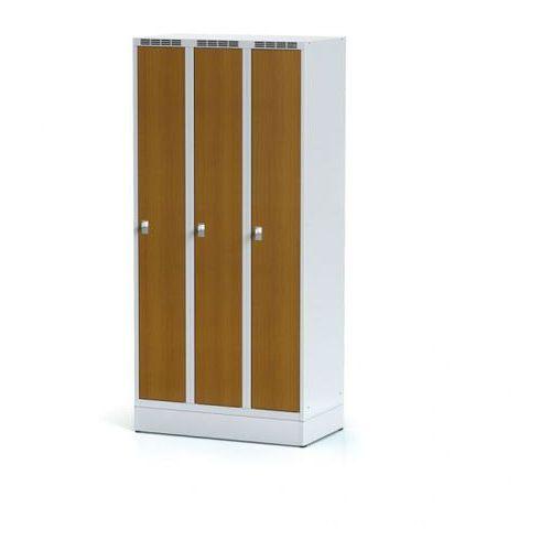Szafka ubraniowa, 3-drzwiowa, drzwi LPW, czereśnia, na cokole, zamek cylindryczny