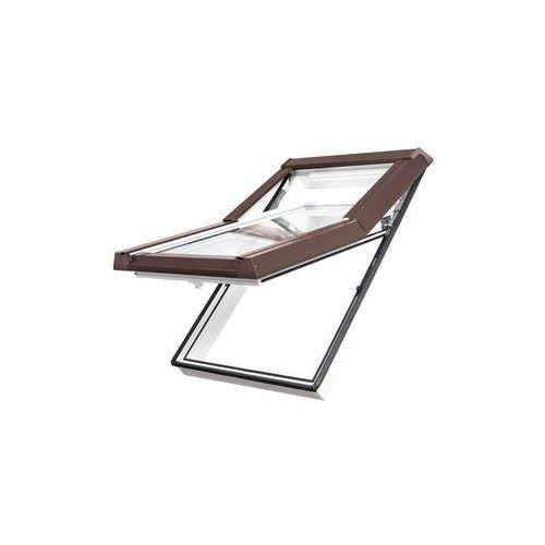 Okno dachowe DOBROPLAST Premium Termo 66x140 złoty dąb PVC oblachowanie brązowe