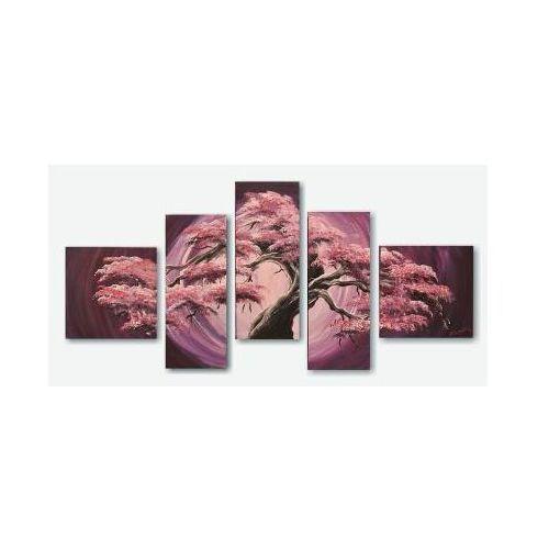 Bonsai w fioletach, nowoczesny obraz ręcznie malowany (obraz)