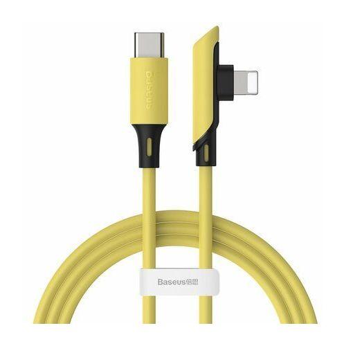 colourful kątowy kabel przewód z bocznym wtykiem usb typ c pd 18w - lightning 1,2m żółty (catldc-a0y) marki Baseus