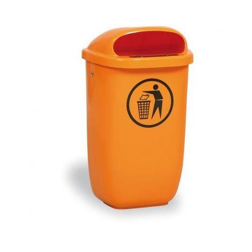 Zewnętrzny kosz na odpady na słupek dino, pomarańczowy marki B2b partner