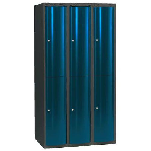 Ekskluzywne szafy osobiste 3x2 schowki w pionie Kolor drzwi: Niebieski metalizowany od AJ Produkty