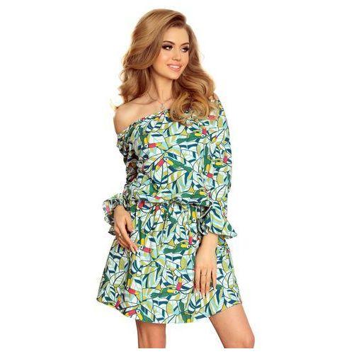 f4e39f1447 Wzorzysta Dziewczęca Sukienka z Falbankami w Zielone Tukany