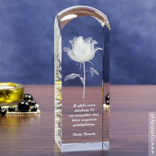 RÓŻA 3D Kwiat Miłości ♥ personalizowany kryształ 3D wysoka zaokrąglona • GRAWER 3D