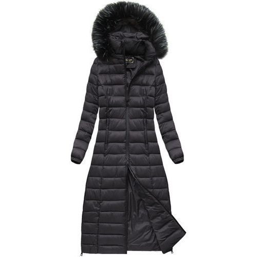 Długi pikowany płaszcz oberżynowy (7758) - fioletowy ||czarny, Libland