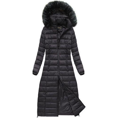 Długi pikowany płaszcz oberżynowy (7758) - fioletowy ||czarny marki Libland