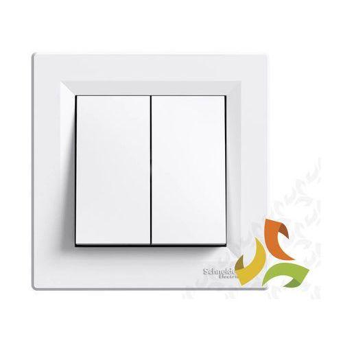 Schneider electric Asfora przycisk, wyłącznik zwierny 2 podwójny biały z ramką eph1100121 schneider