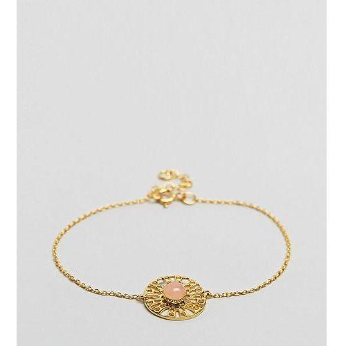 ASOS Gold Plated Sterling Silver Faux Rose Quartz Fine Chain Bracelet - Gold