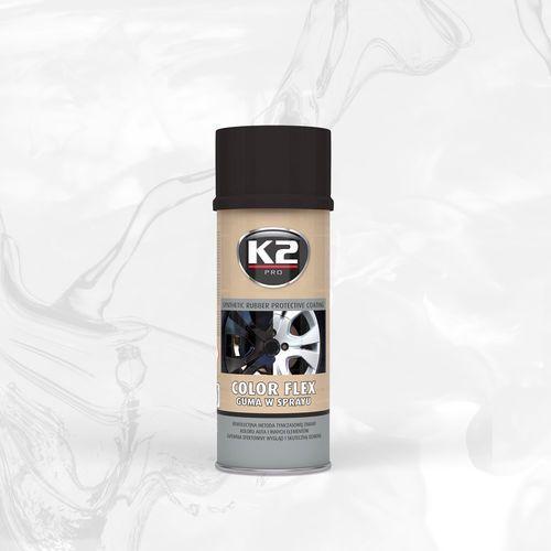 K2 Color flex guma w sprayu - czarny połysk syntetyczna powłoka gumowa w sprayu